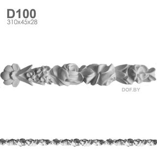 Фриз незабудки и розы, барельеф гипсовый D100
