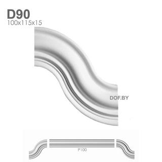 Соединитель для молдинга P100, барельеф гипсовый D90